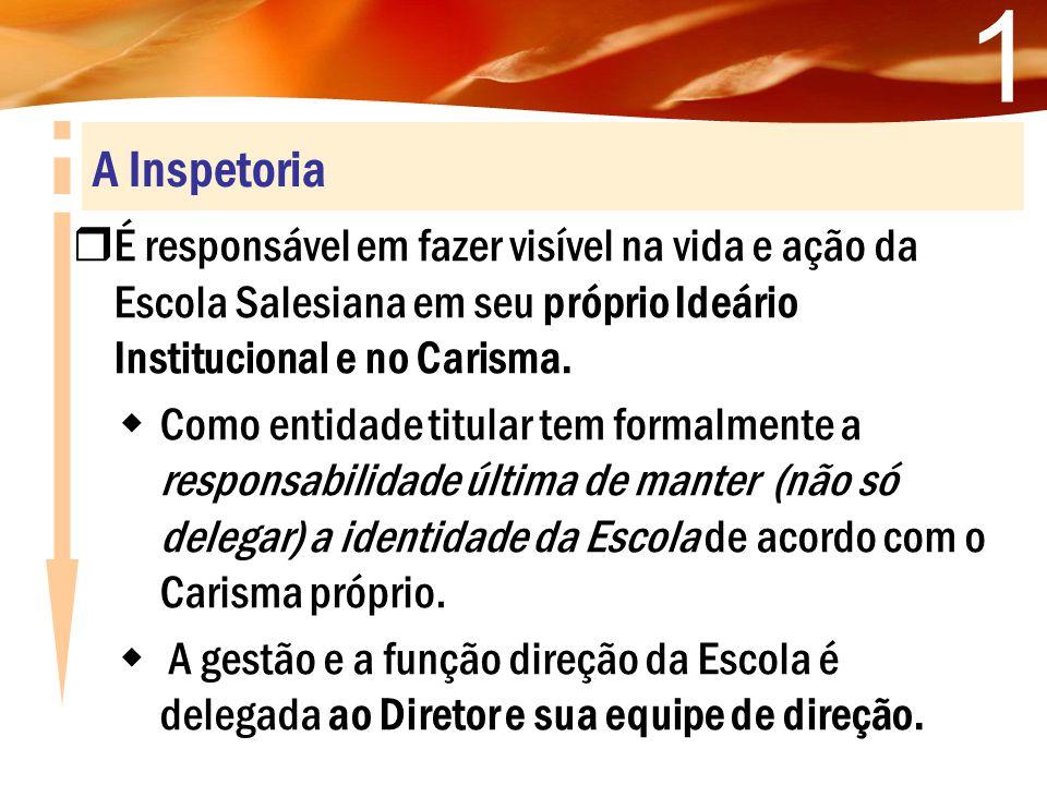 1 A Inspetoria. É responsável em fazer visível na vida e ação da Escola Salesiana em seu próprio Ideário Institucional e no Carisma.