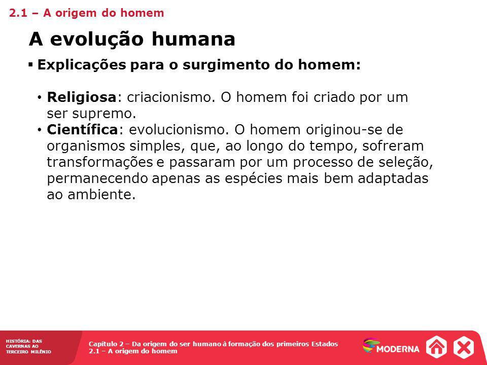 A evolução humana Explicações para o surgimento do homem: