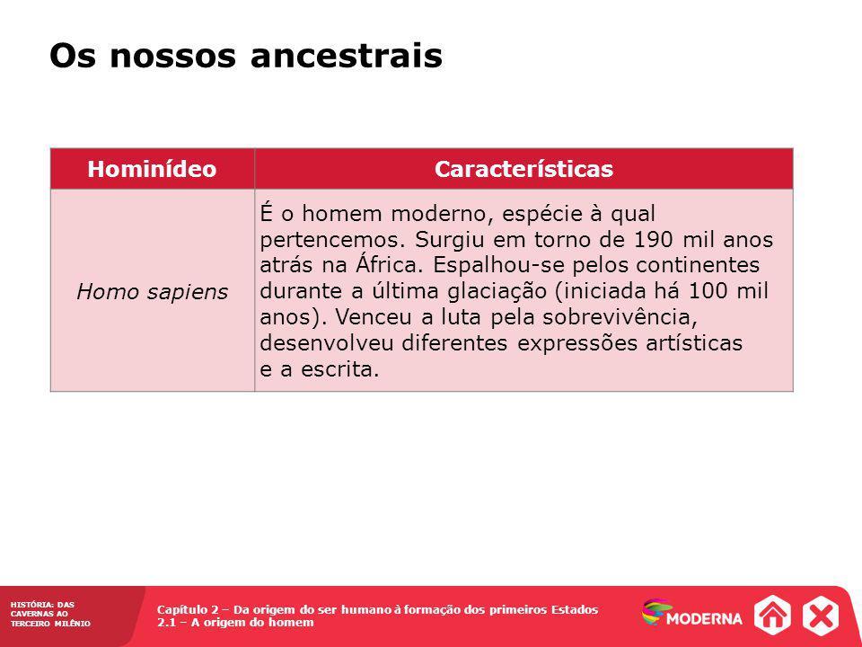 Os nossos ancestrais Hominídeo Características Homo sapiens