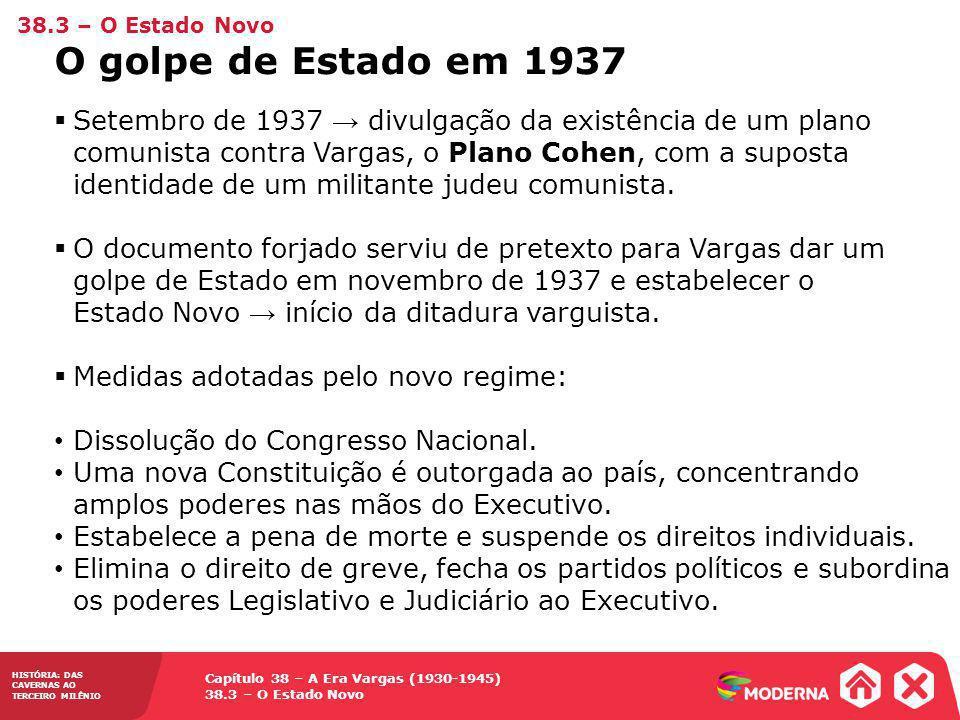 38.3 – O Estado Novo O golpe de Estado em 1937.