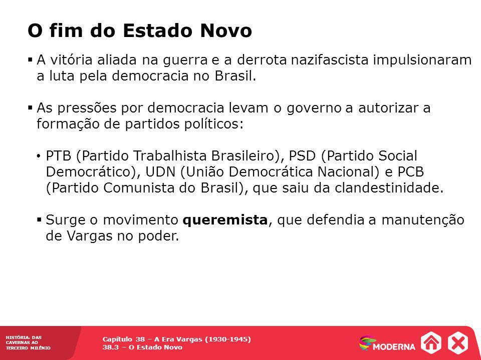 O fim do Estado Novo A vitória aliada na guerra e a derrota nazifascista impulsionaram a luta pela democracia no Brasil.