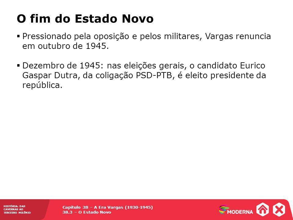 O fim do Estado Novo Pressionado pela oposição e pelos militares, Vargas renuncia em outubro de 1945.