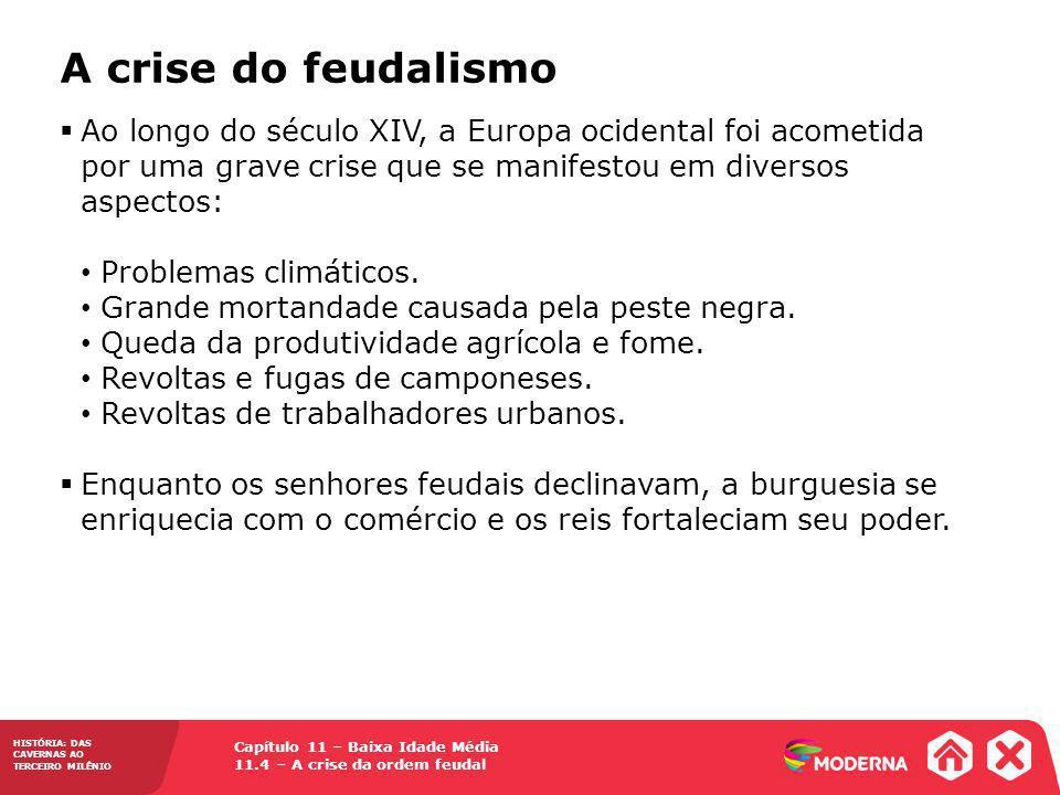 A crise do feudalismo Ao longo do século XIV, a Europa ocidental foi acometida por uma grave crise que se manifestou em diversos aspectos: