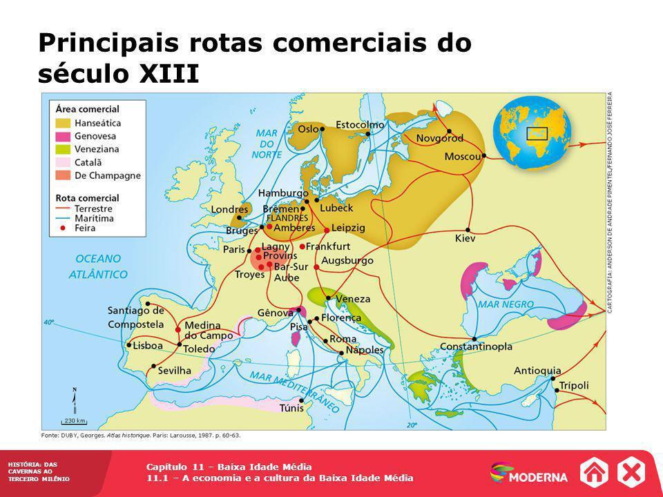 Principais rotas comerciais do século XIII