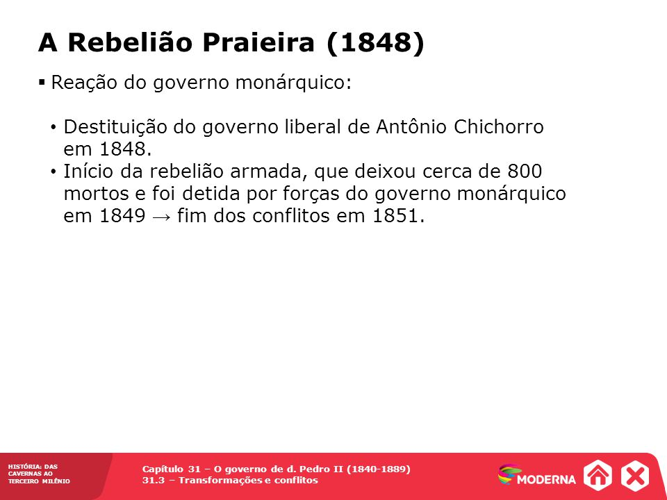 A Rebelião Praieira (1848) Reação do governo monárquico: