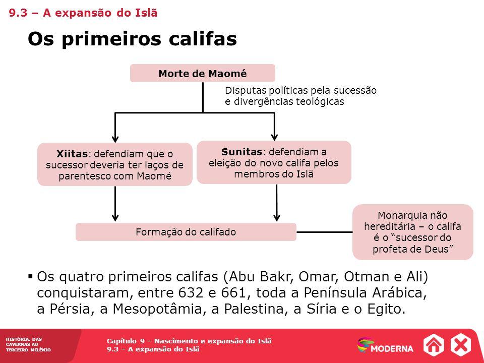 9.3 – A expansão do Islã Os primeiros califas. Formação do califado. Monarquia não hereditária – o califa é o sucessor do profeta de Deus
