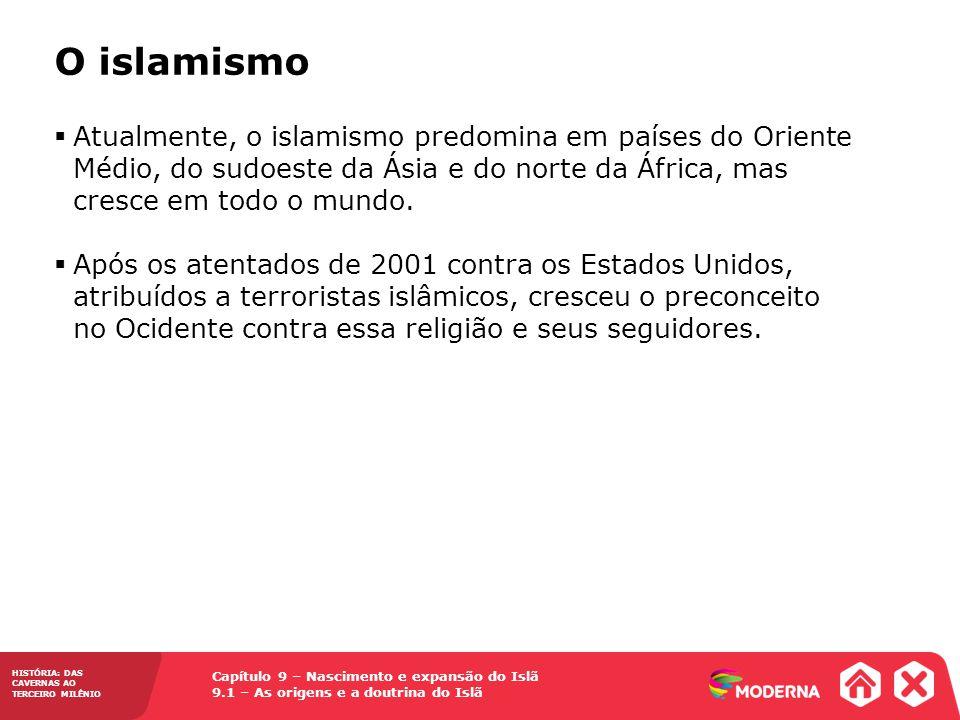 O islamismo Atualmente, o islamismo predomina em países do Oriente Médio, do sudoeste da Ásia e do norte da África, mas cresce em todo o mundo.