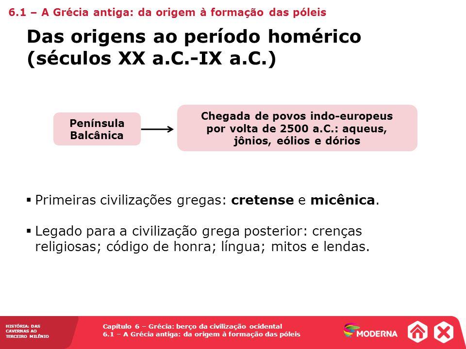 Das origens ao período homérico (séculos XX a.C.-IX a.C.)