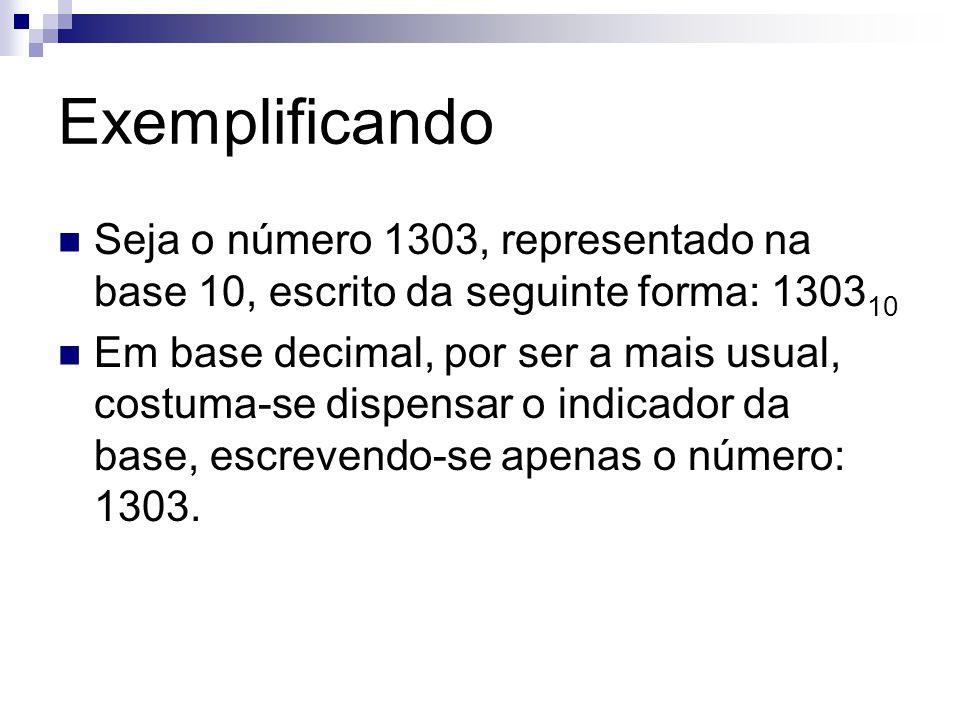 Exemplificando Seja o número 1303, representado na base 10, escrito da seguinte forma: 130310.