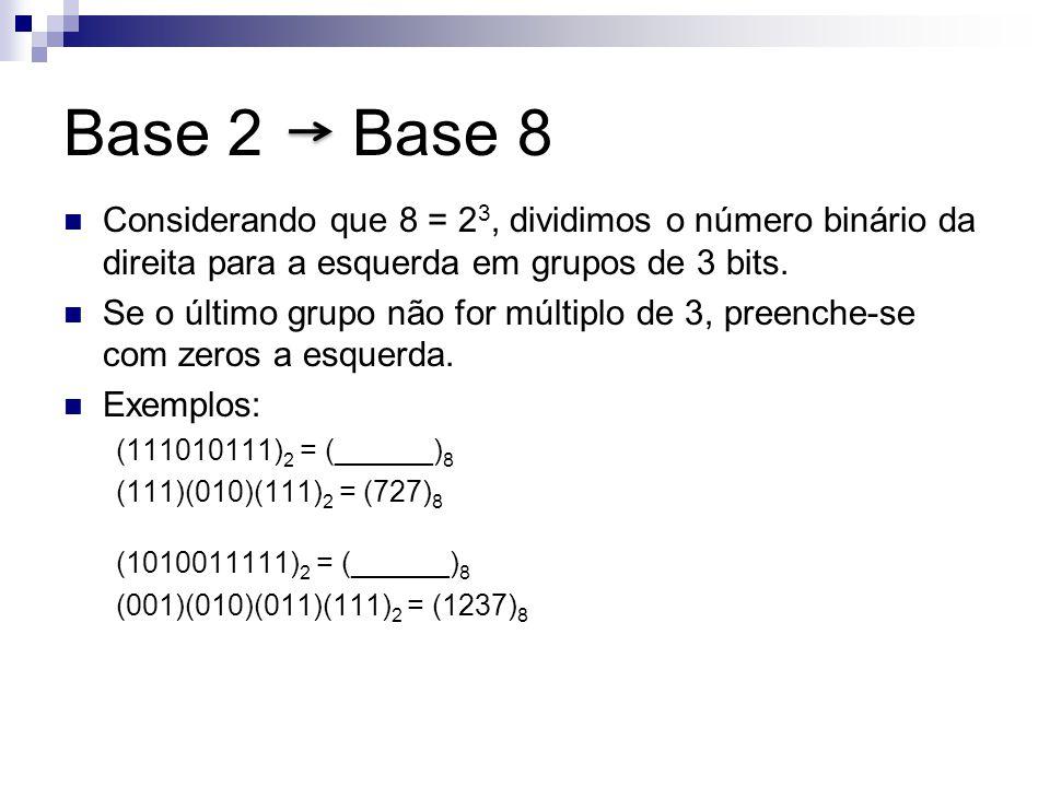 Base 2 Base 8 Considerando que 8 = 23, dividimos o número binário da direita para a esquerda em grupos de 3 bits.