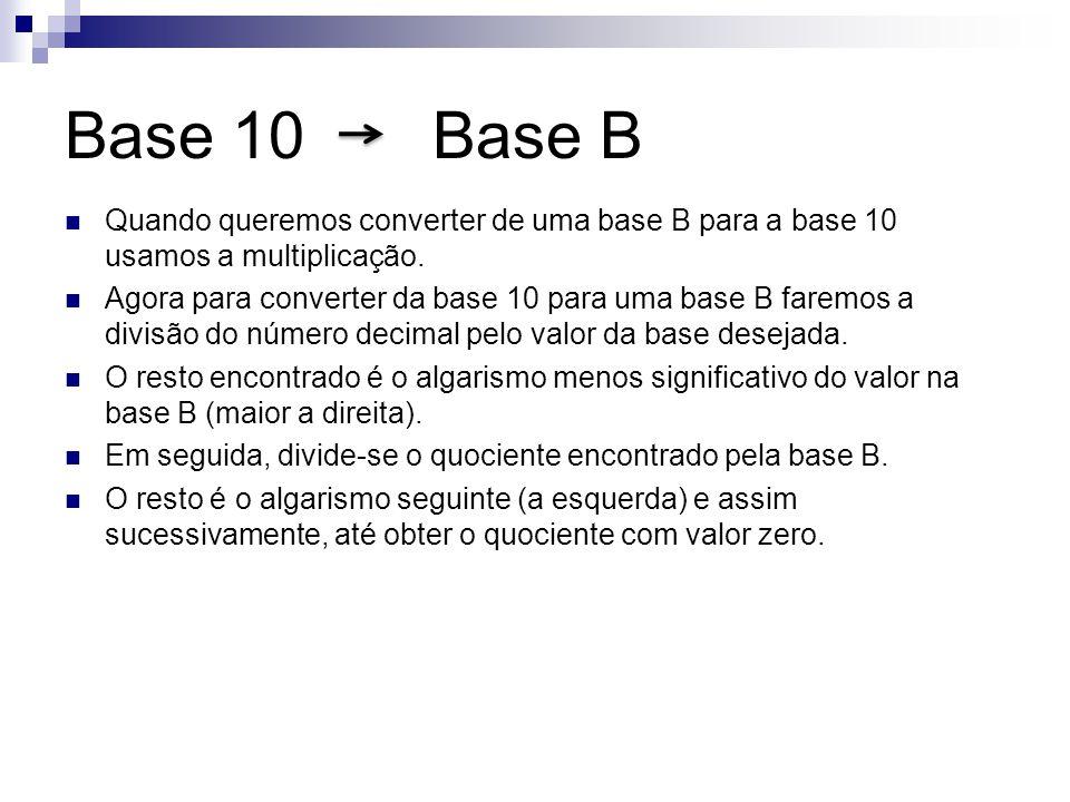 Base 10 Base B Quando queremos converter de uma base B para a base 10 usamos a multiplicação.