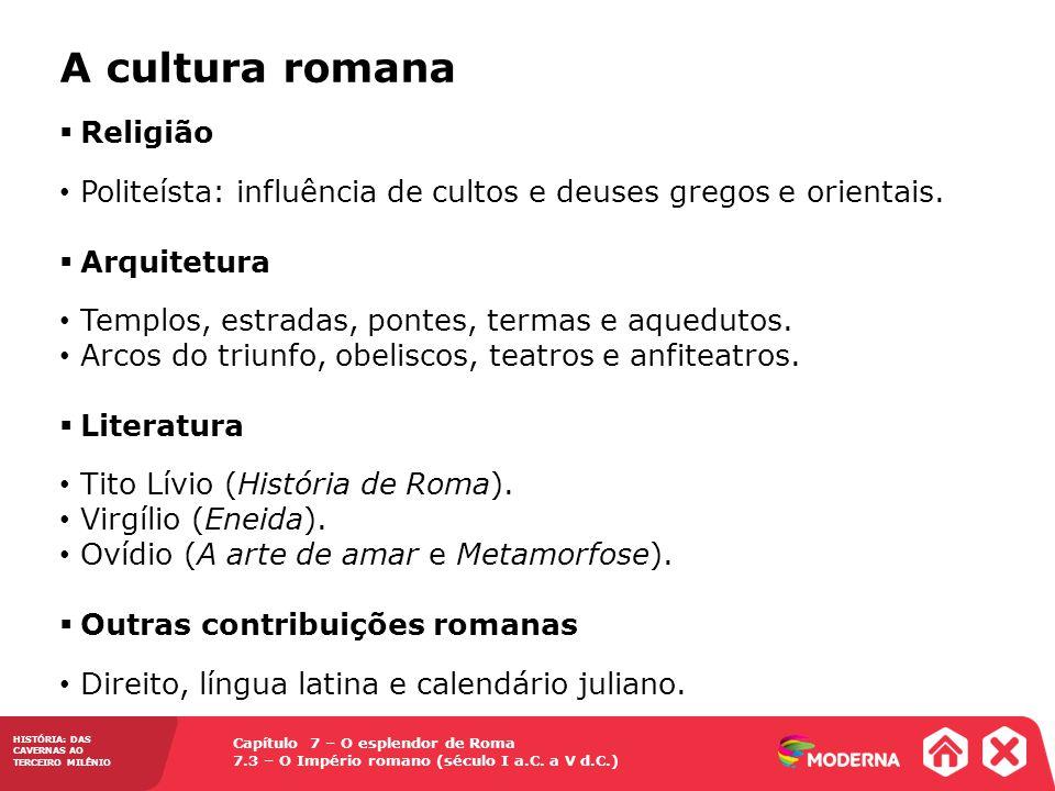 A cultura romana Religião