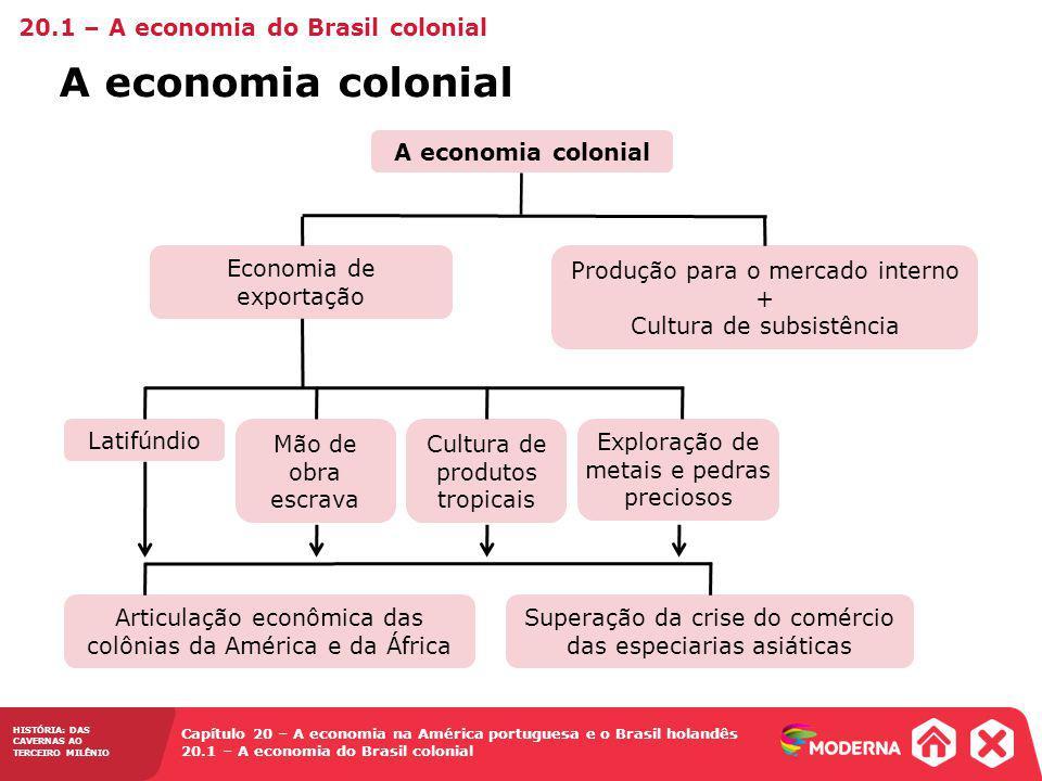 A economia colonial 20.1 – A economia do Brasil colonial