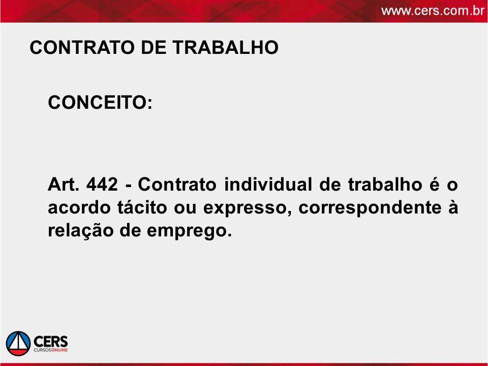CONTRATO DE TRABALHO CONCEITO: Art