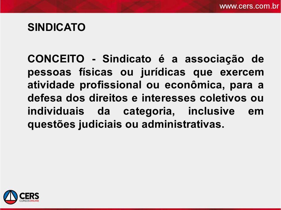 SINDICATO CONCEITO - Sindicato é a associação de pessoas físicas ou jurídicas que exercem atividade profissional ou econômica, para a defesa dos direitos e interesses coletivos ou individuais da categoria, inclusive em questões judiciais ou administrativas.