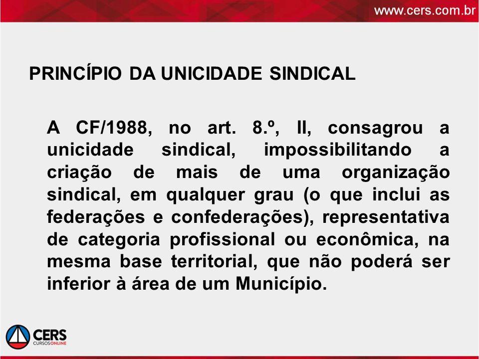 PRINCÍPIO DA UNICIDADE SINDICAL A CF/1988, no art. 8