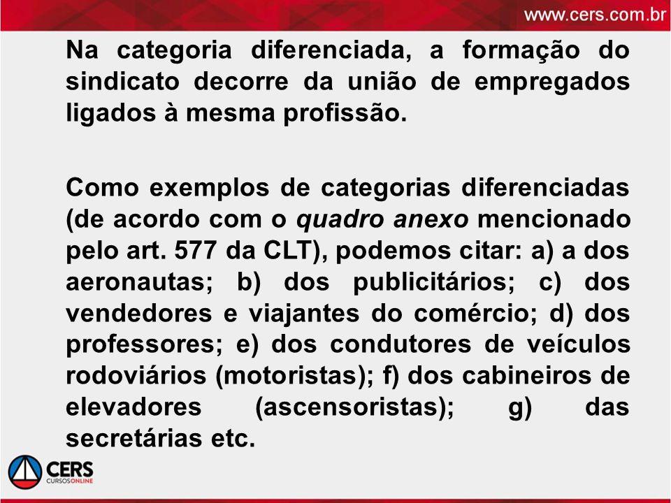 Na categoria diferenciada, a formação do sindicato decorre da união de empregados ligados à mesma profissão.