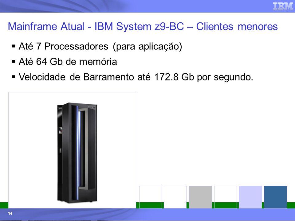 Mainframe Atual - IBM System z9-BC – Clientes menores