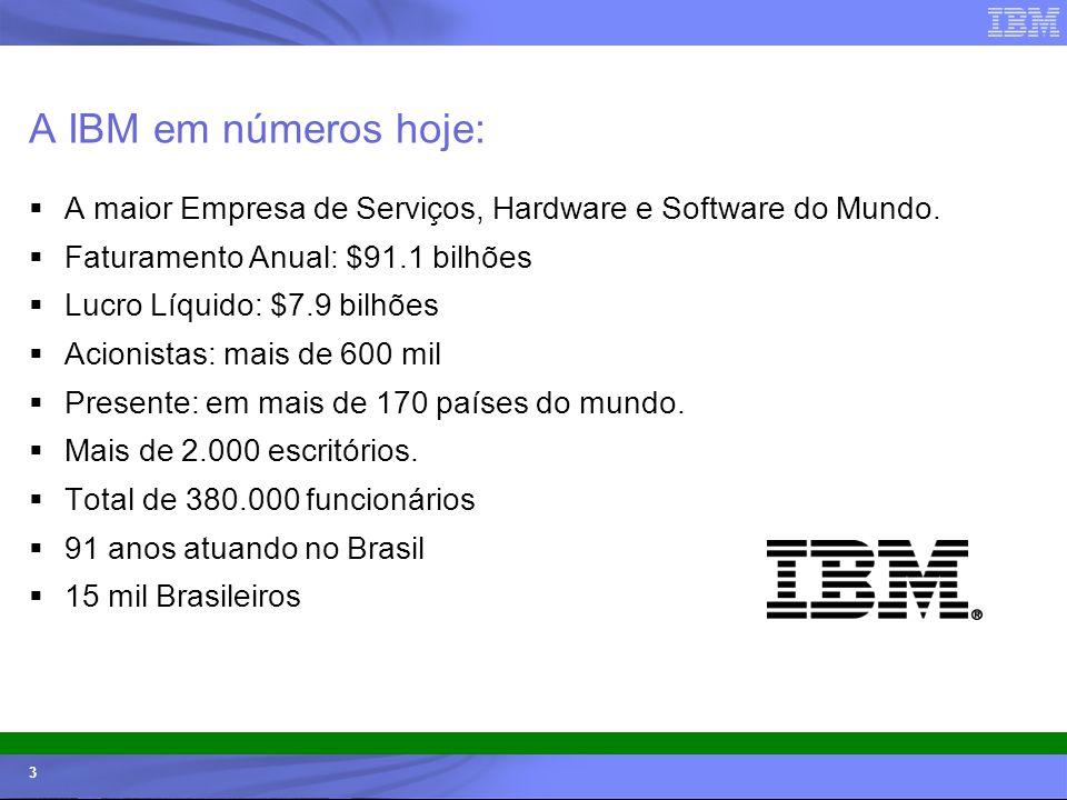 A IBM em números hoje: A maior Empresa de Serviços, Hardware e Software do Mundo. Faturamento Anual: $91.1 bilhões.