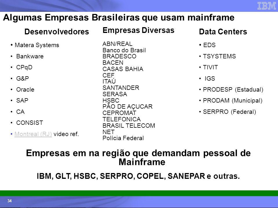 Empresas em na região que demandam pessoal de Mainframe