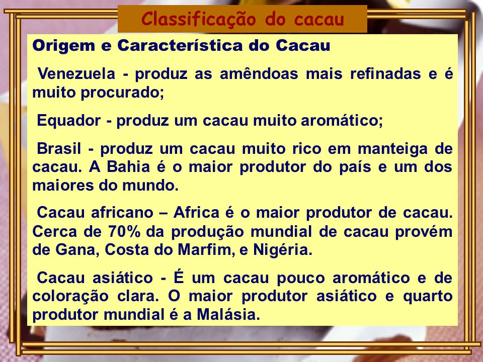 Classificação do cacau