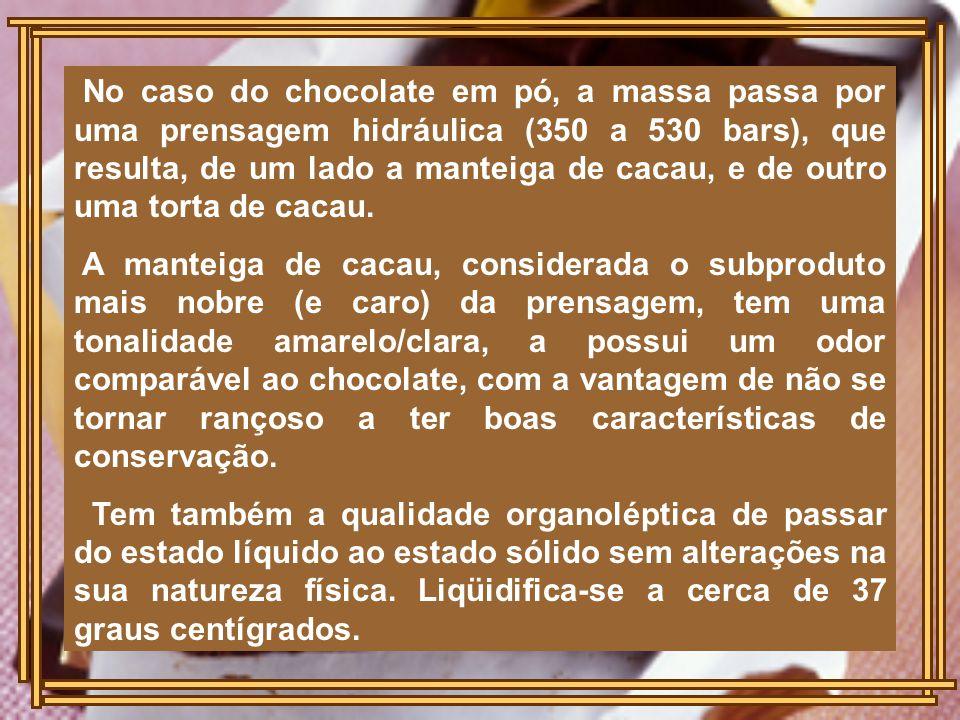 No caso do chocolate em pó, a massa passa por uma prensagem hidráulica (350 a 530 bars), que resulta, de um lado a manteiga de cacau, e de outro uma torta de cacau.
