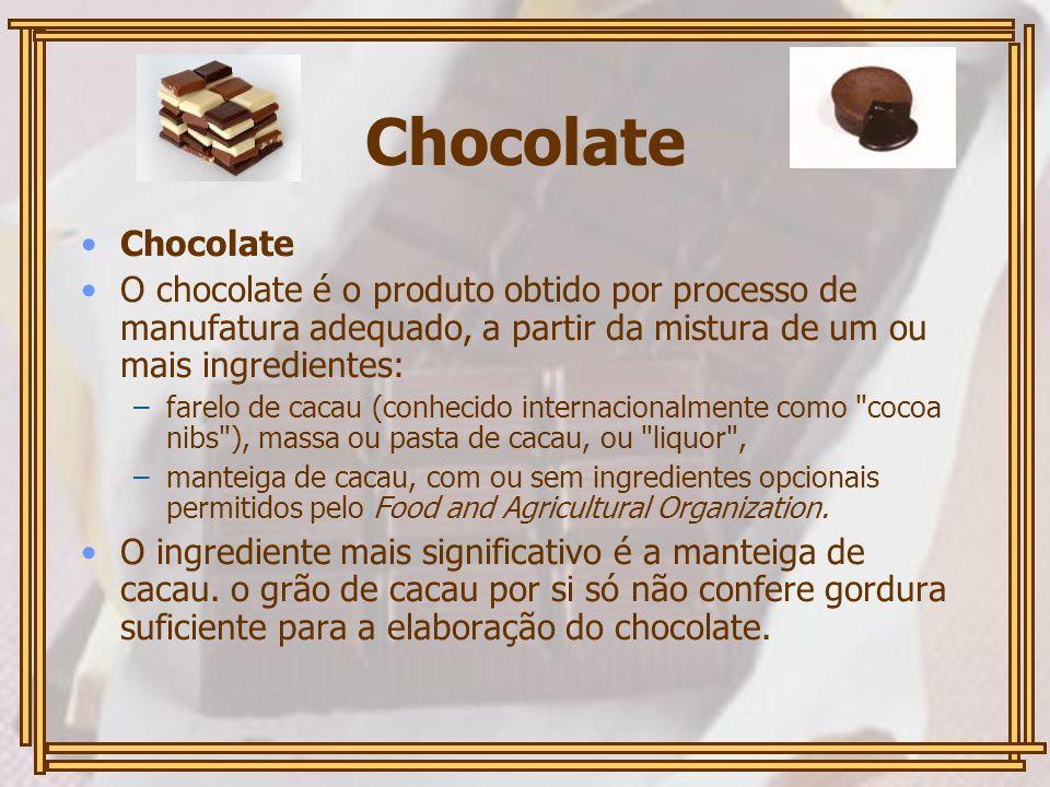 Chocolate Chocolate. O chocolate é o produto obtido por processo de manufatura adequado, a partir da mistura de um ou mais ingredientes: