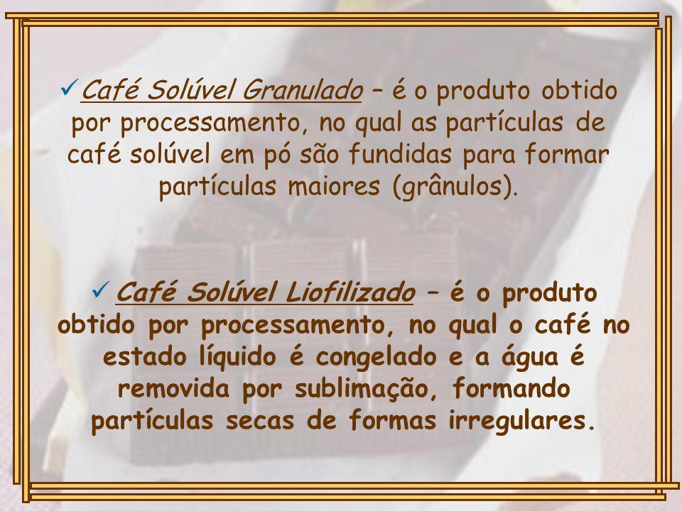 Café Solúvel Granulado – é o produto obtido por processamento, no qual as partículas de café solúvel em pó são fundidas para formar partículas maiores (grânulos).