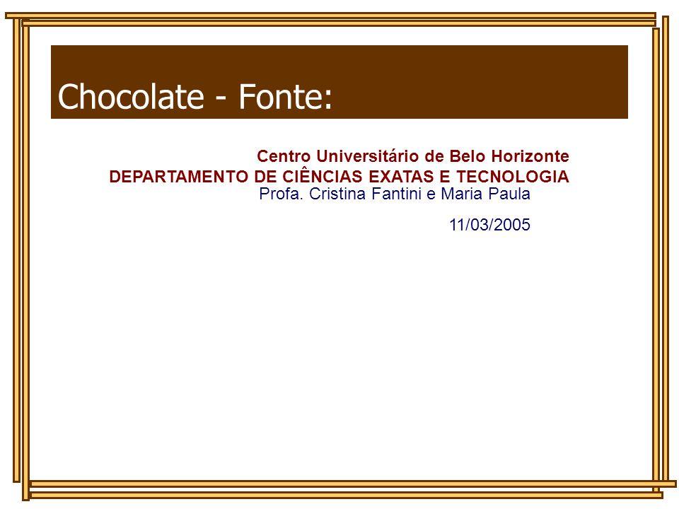 Chocolate - Fonte: DEPARTAMENTO DE CIÊNCIAS EXATAS E TECNOLOGIA