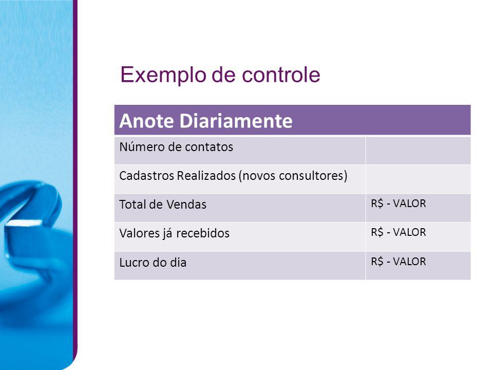 Anote Diariamente Exemplo de controle Número de contatos