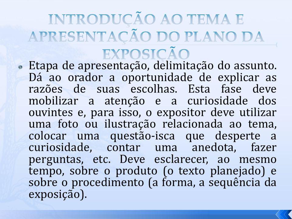 INTRODUÇÃO AO TEMA E APRESENTAÇÃO DO PLANO DA EXPOSIÇÃO
