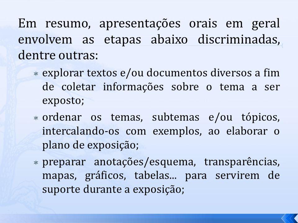 Em resumo, apresentações orais em geral envolvem as etapas abaixo discriminadas, dentre outras: