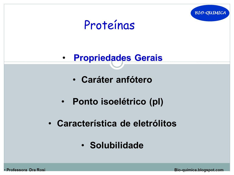 Ponto isoelétrico (pI) Característica de eletrólitos