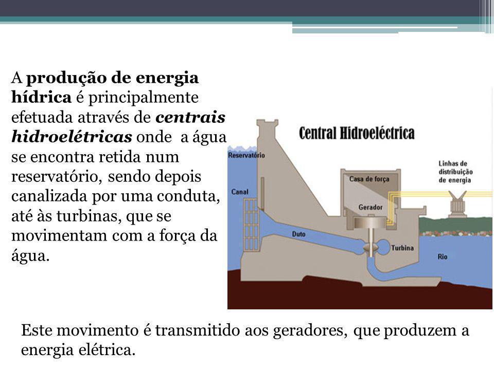 A produção de energia hídrica é principalmente efetuada através de centrais hidroelétricas onde a água se encontra retida num reservatório, sendo depois canalizada por uma conduta, até às turbinas, que se movimentam com a força da água.