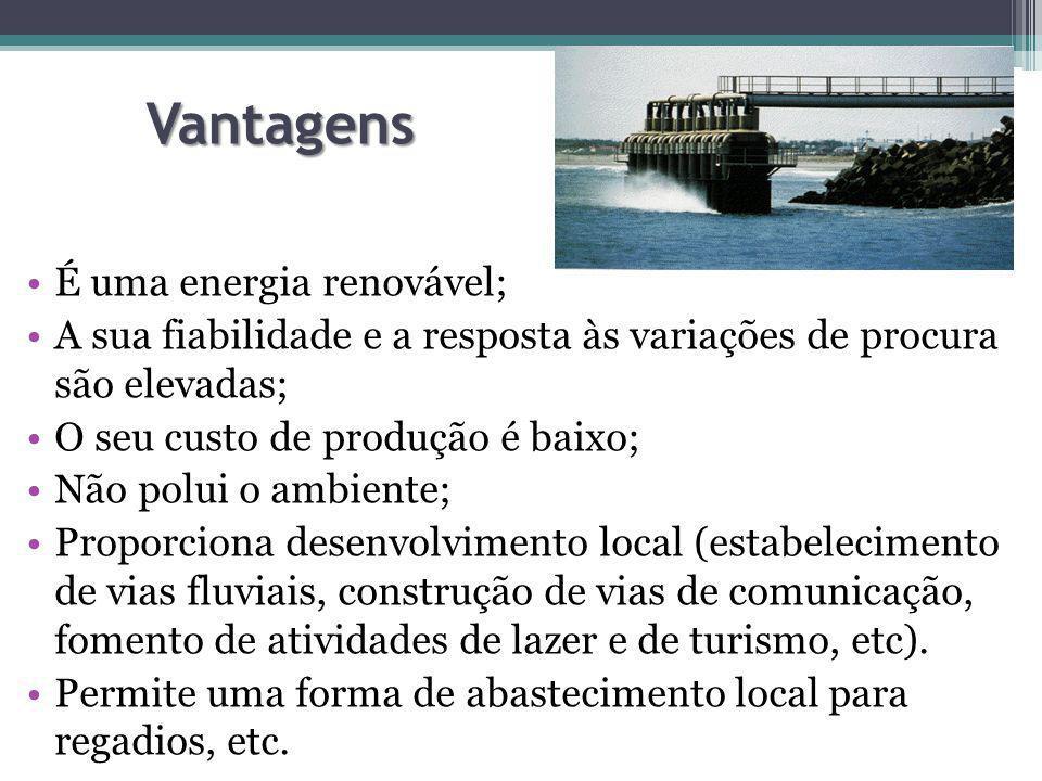 Vantagens É uma energia renovável;