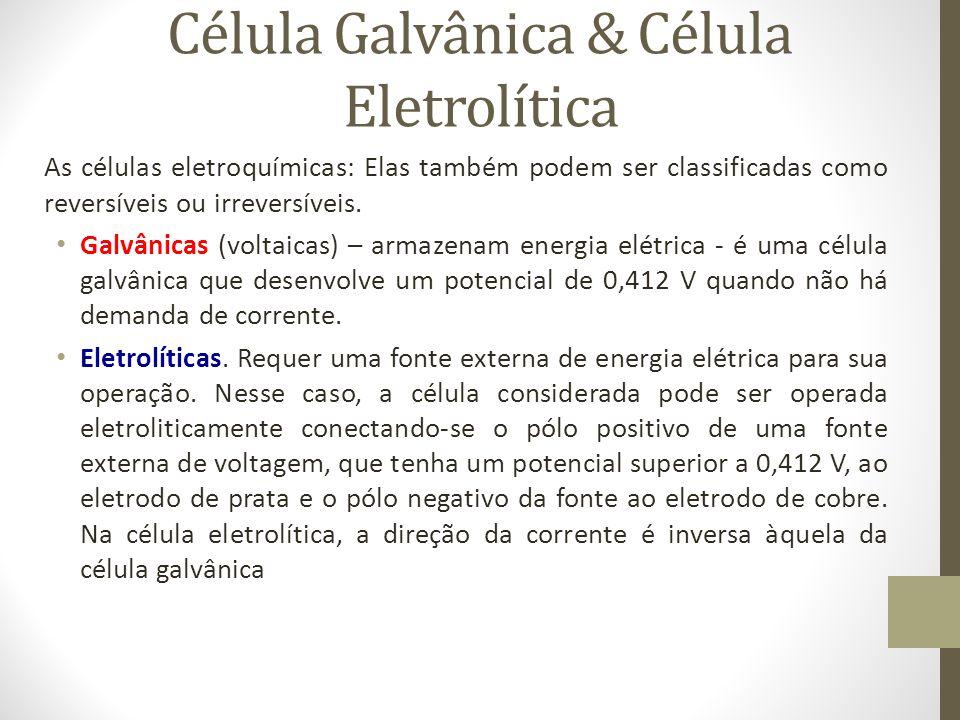 Célula Galvânica & Célula Eletrolítica