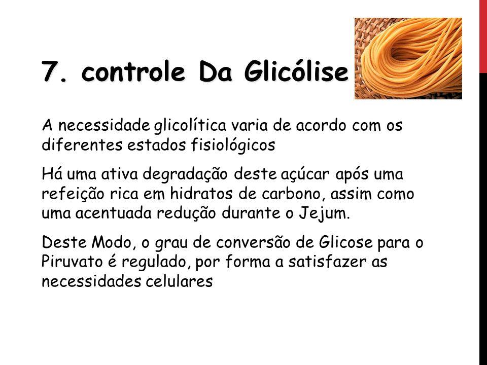 7. controle Da Glicólise A necessidade glicolítica varia de acordo com os diferentes estados fisiológicos.