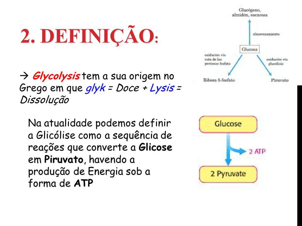 2. Definição:  Glycolysis tem a sua origem no Grego em que glyk = Doce + Lysis = Dissolução.