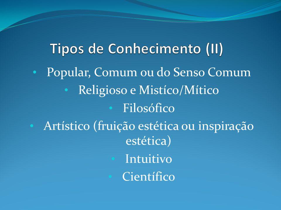 Tipos de Conhecimento (II)