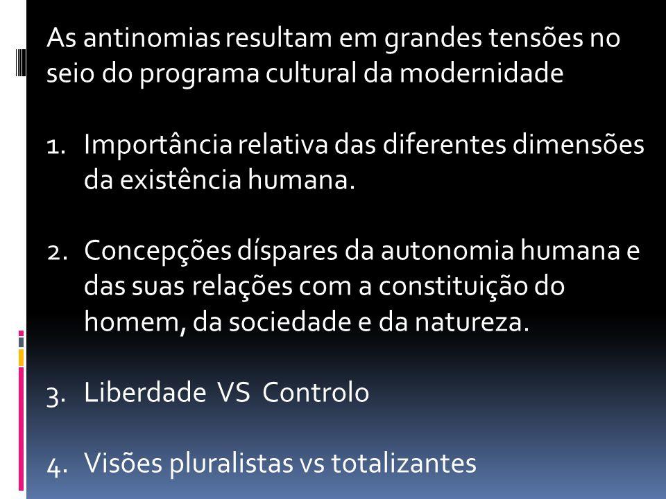 As antinomias resultam em grandes tensões no seio do programa cultural da modernidade