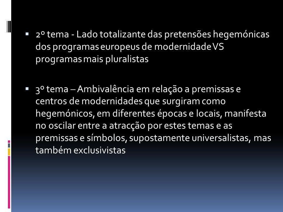 2º tema - Lado totalizante das pretensões hegemónicas dos programas europeus de modernidade VS programas mais pluralistas