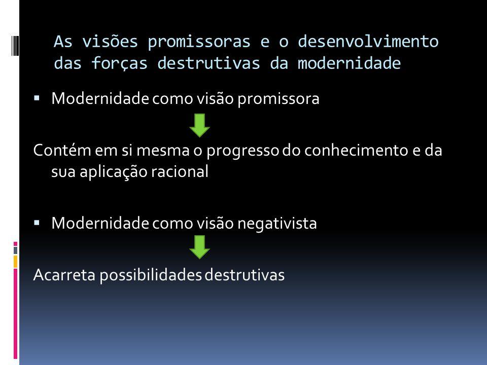As visões promissoras e o desenvolvimento das forças destrutivas da modernidade