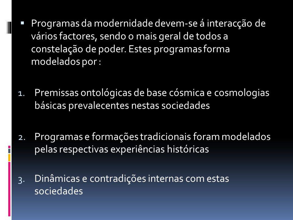 Programas da modernidade devem-se á interacção de vários factores, sendo o mais geral de todos a constelação de poder. Estes programas forma modelados por :