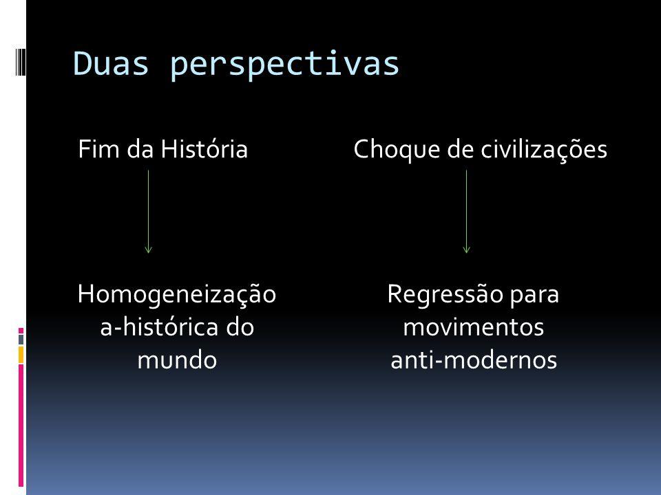 Duas perspectivas Fim da História Choque de civilizações