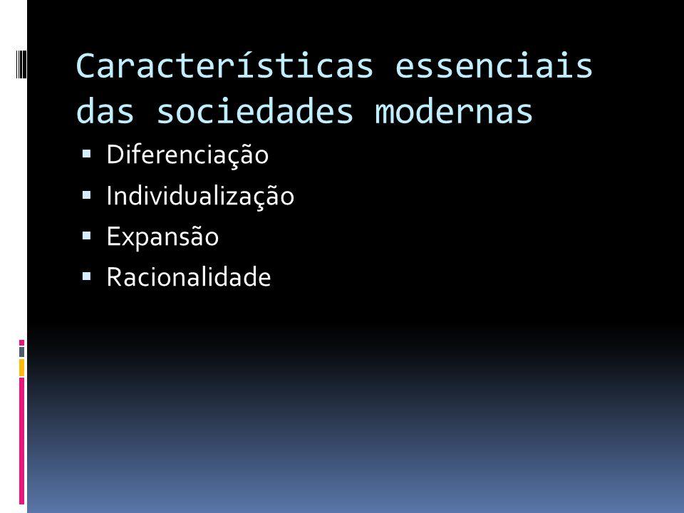 Características essenciais das sociedades modernas