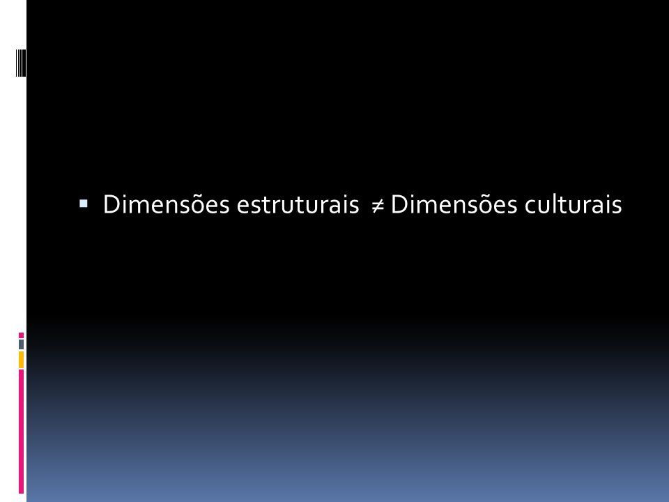 Dimensões estruturais ≠ Dimensões culturais