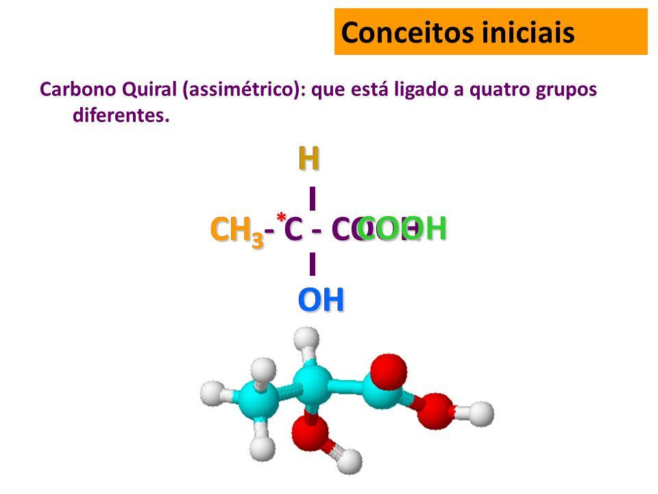 CH3- C - COOH OH H CH3 * OH H COOH Conceitos iniciais
