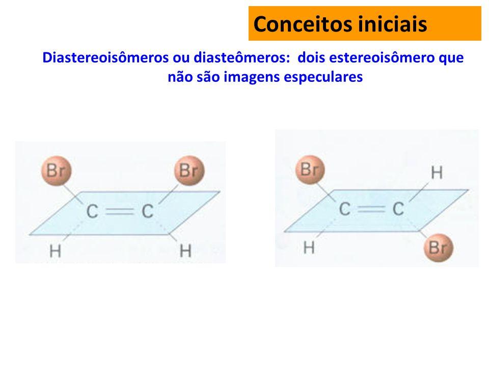 Conceitos iniciais Diastereoisômeros ou diasteômeros: dois estereoisômero que não são imagens especulares.