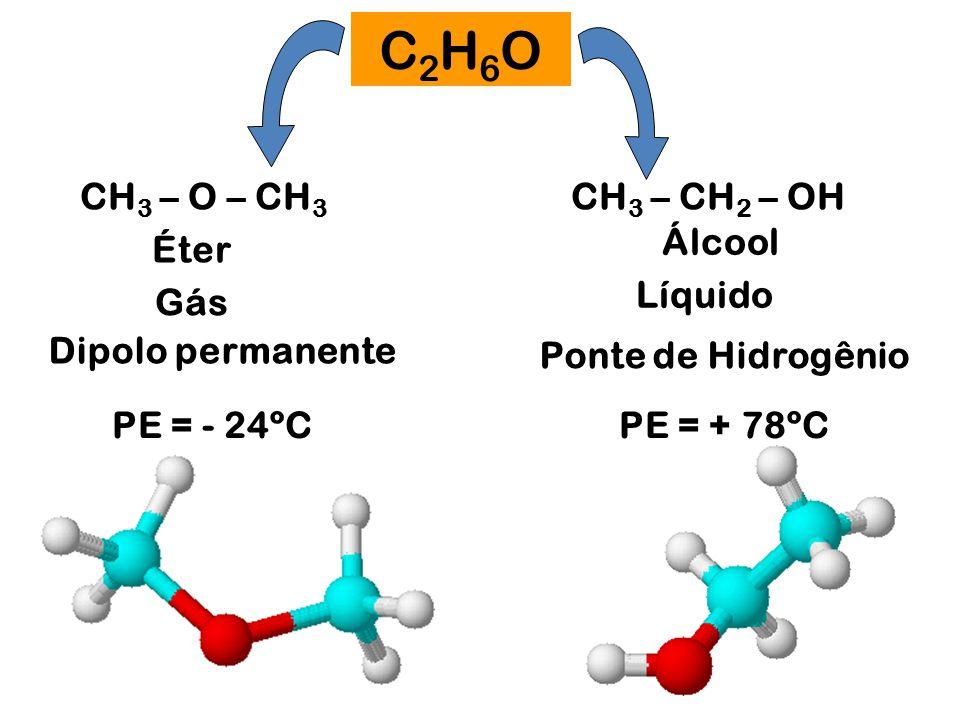 C2H6O CH3 – O – CH3 CH3 – CH2 – OH Álcool Éter Líquido Gás