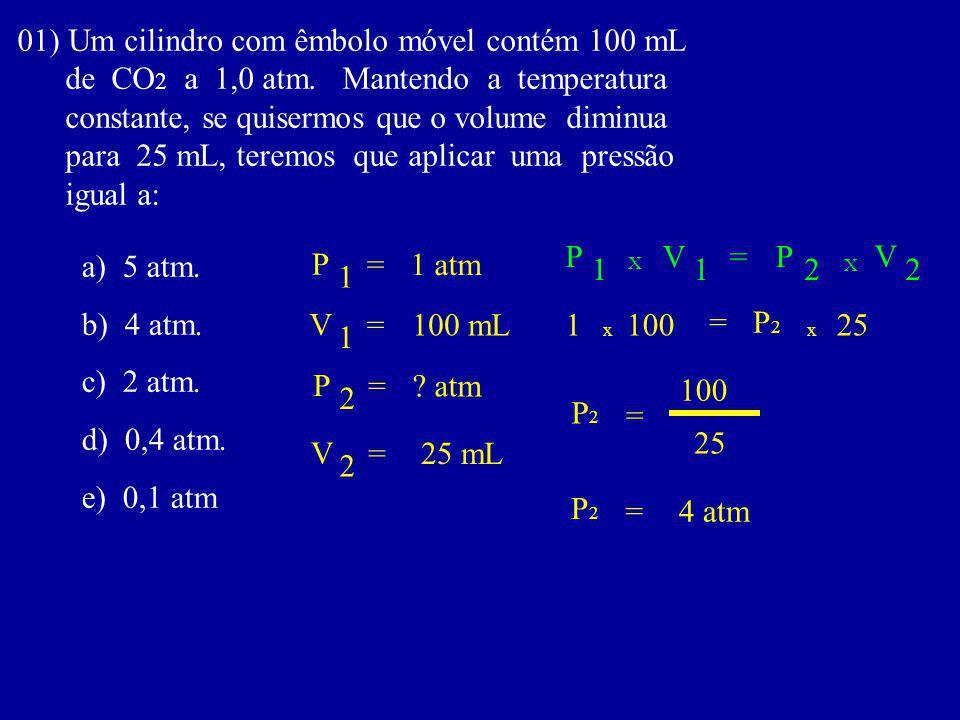 01) Um cilindro com êmbolo móvel contém 100 mL